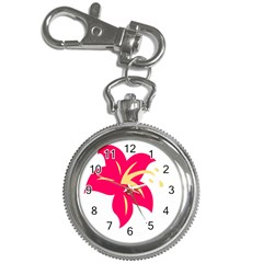 Flower Floral Lily Blossom Red Yellow Key Chain Watches