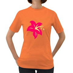 Flower Floral Lily Blossom Red Yellow Women s Dark T Shirt