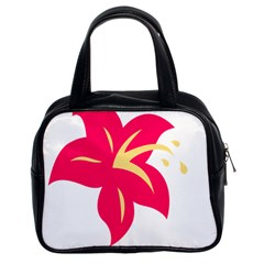 Flower Floral Lily Blossom Red Yellow Classic Handbags (2 Sides)
