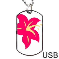 Flower Floral Lily Blossom Red Yellow Dog Tag Usb Flash (two Sides)