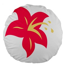 Flower Floral Lily Blossom Red Yellow Large 18  Premium Round Cushions