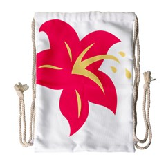 Flower Floral Lily Blossom Red Yellow Drawstring Bag (Large)