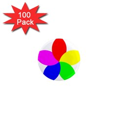 Fan Star Floral 1  Mini Magnets (100 Pack)