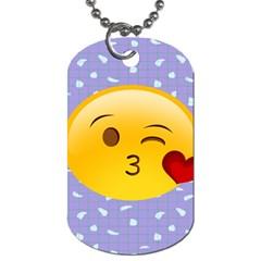 Face Smile Orange Red Heart Emoji Dog Tag (one Side)