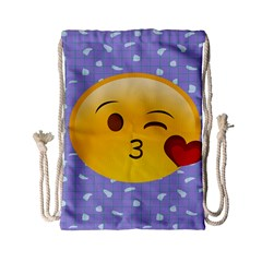 Face Smile Orange Red Heart Emoji Drawstring Bag (small)