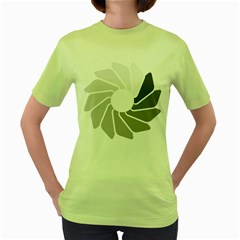 Flower Transparent Shadow Grey Women s Green T Shirt