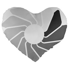 Flower Transparent Shadow Grey Large 19  Premium Heart Shape Cushions