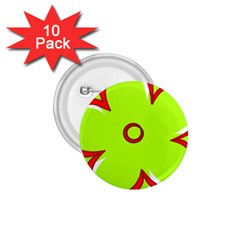 Flower Floral Red Green 1 75  Buttons (10 Pack)
