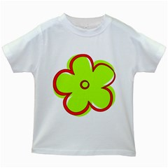 Flower Floral Red Green Kids White T Shirts