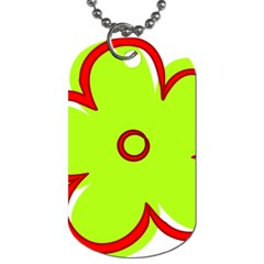 Flower Floral Red Green Dog Tag (Two Sides)