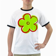 Flower Floral Red Green Ringer T Shirts
