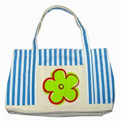 Flower Floral Red Green Striped Blue Tote Bag