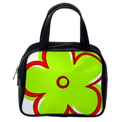 Flower Floral Red Green Classic Handbags (One Side)
