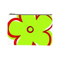 Flower Floral Red Green Cosmetic Bag (large)