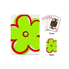 Flower Floral Red Green Playing Cards (mini)