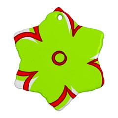 Flower Floral Red Green Snowflake Ornament (two Sides)
