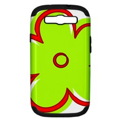 Flower Floral Red Green Samsung Galaxy S Iii Hardshell Case (pc+silicone)