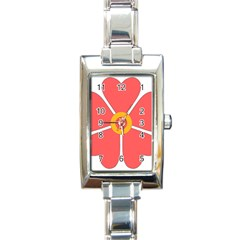 Flower With Heart Shaped Petals Pink Yellow Red Rectangle Italian Charm Watch