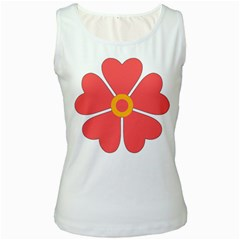 Flower With Heart Shaped Petals Pink Yellow Red Women s White Tank Top