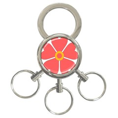 Flower With Heart Shaped Petals Pink Yellow Red 3 Ring Key Chains