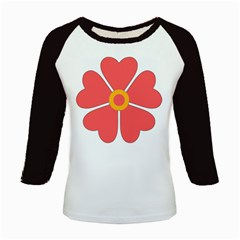 Flower With Heart Shaped Petals Pink Yellow Red Kids Baseball Jerseys