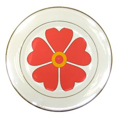 Flower With Heart Shaped Petals Pink Yellow Red Porcelain Plates