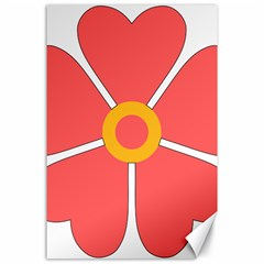 Flower With Heart Shaped Petals Pink Yellow Red Canvas 24  X 36