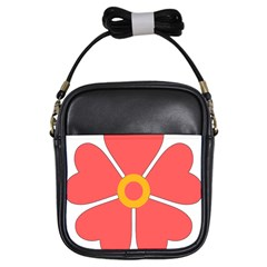 Flower With Heart Shaped Petals Pink Yellow Red Girls Sling Bags