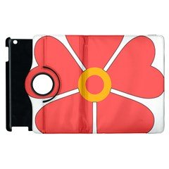 Flower With Heart Shaped Petals Pink Yellow Red Apple Ipad 3/4 Flip 360 Case