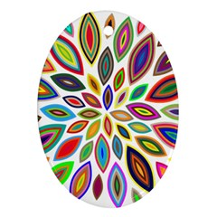 Chromatic Flower Petals Rainbow Ornament (Oval)