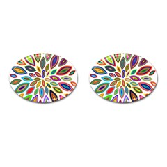 Chromatic Flower Petals Rainbow Cufflinks (oval)