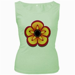Flower Floral Hole Eye Star Women s Green Tank Top