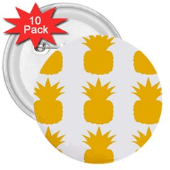 Fruit Pineapple Printable Orange Yellow 3  Buttons (10 Pack)