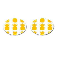 Fruit Pineapple Printable Orange Yellow Cufflinks (oval)