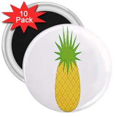 Fruit Pineapple Yellow Green 3  Magnets (10 Pack)