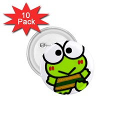 Frog Green Big Eye Face Smile 1 75  Buttons (10 Pack)