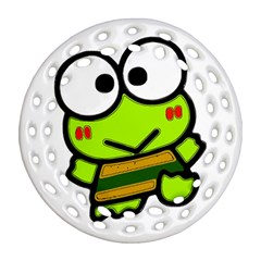 Frog Green Big Eye Face Smile Ornament (round Filigree)