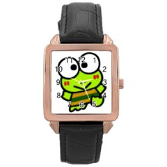 Frog Green Big Eye Face Smile Rose Gold Leather Watch