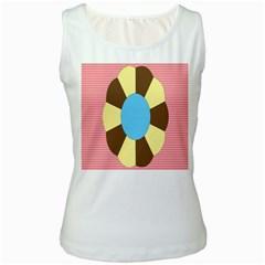 Garage Door Quilts Flower Line Women s White Tank Top