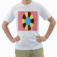 Garage Door Quilts Flower Line Men s T Shirt (white) (two Sided)