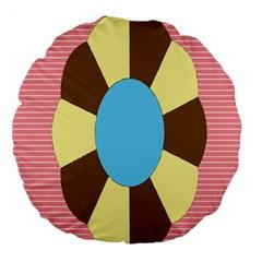 Garage Door Quilts Flower Line Large 18  Premium Round Cushions