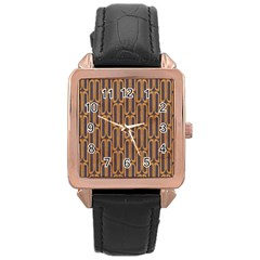 Chains Abstract Seamless Rose Gold Leather Watch