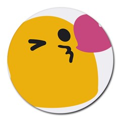 Happy Heart Love Face Emoji Round Mousepads