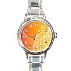 Abstract Orange Background Round Italian Charm Watch