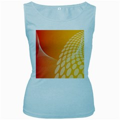 Abstract Orange Background Women s Baby Blue Tank Top