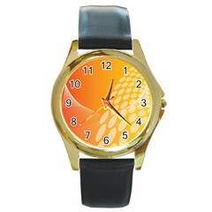 Abstract Orange Background Round Gold Metal Watch