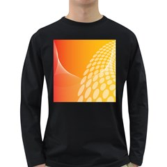 Abstract Orange Background Long Sleeve Dark T Shirts