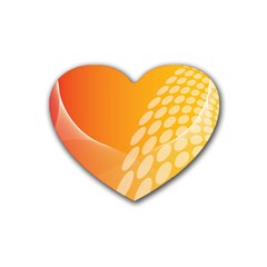 Abstract Orange Background Rubber Coaster (heart)