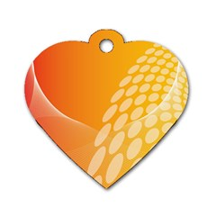 Abstract Orange Background Dog Tag Heart (one Side)