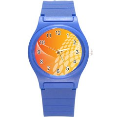 Abstract Orange Background Round Plastic Sport Watch (S)